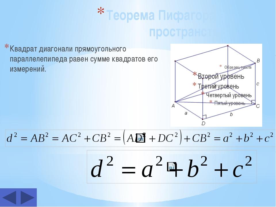 Теорема Пифагора в пространстве Квадрат диагонали прямоугольного параллелепи...