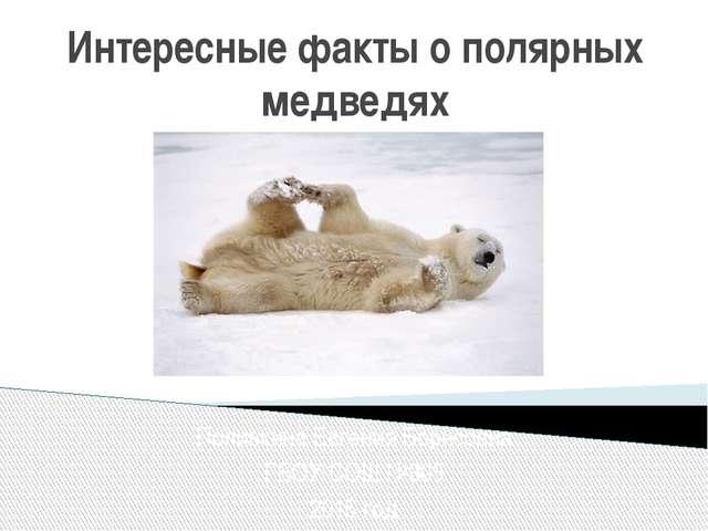 Интересные факты о полярных медведях Поливкина Евгения Борисовна ГБОУ СОШ №30...