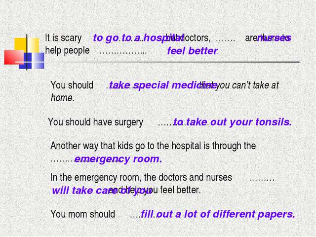 It is scary ……….. , but doctors, ……. are there to help people …………….. You sho...