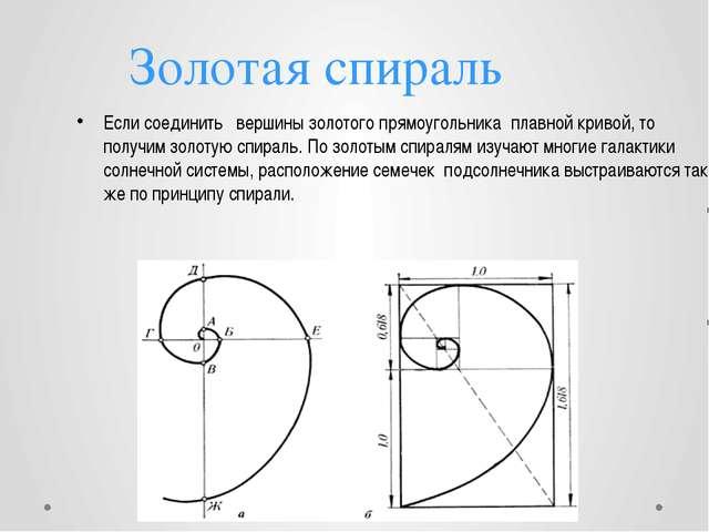 Золотая спираль Если соединить вершины золотого прямоугольника плавной кривой...