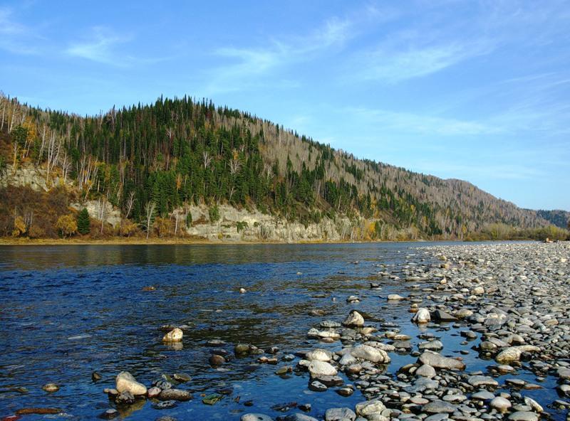 Река Томь, Сибирь, Россия