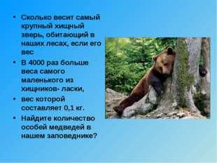 Сколько весит самый крупный хищный зверь, обитающий в наших лесах, если его в