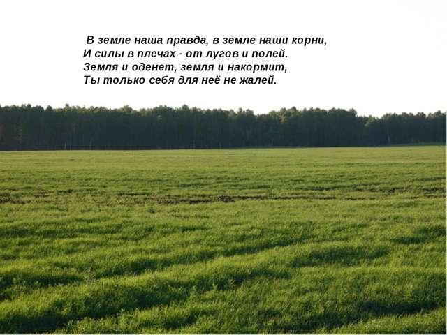 В земле наша правда, в земле наши корни, И силы в плечах - от лугов и полей....
