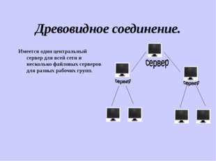 Древовидное соединение. Имеется один центральный сервер для всей сети и неско