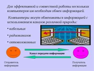 Для эффективной и совместной работы нескольких компьютеров им необходим обмен