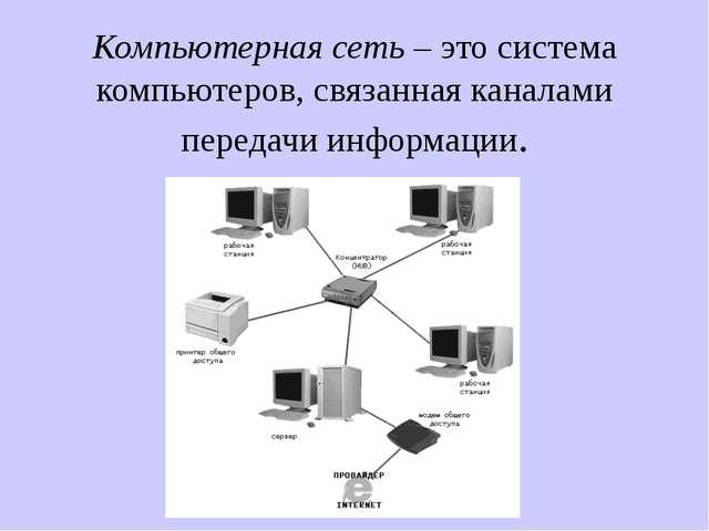 Компьютерная сеть – это система компьютеров, связанная каналами передачи инфо...
