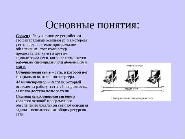 Основные понятия: Сервер (обслуживающее устройство)– это центральный компьюте...