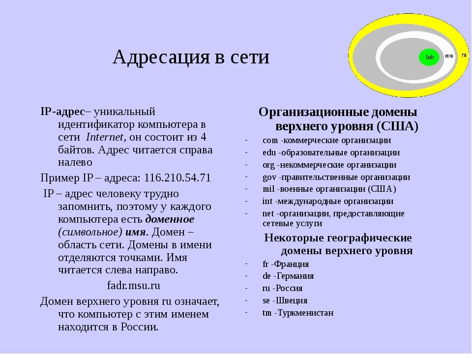 Адресация в сети IP-адрес– уникальный идентификатор компьютера в сети Interne...