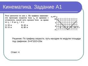 Кинематика. Задание А1 Решение: По графику скорости, путь находим по модулю п