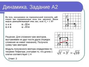 Динамика. Задание А2 Ответ: 3