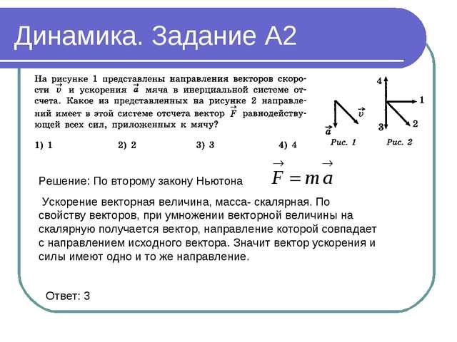 Динамика. Задание А2 Решение: По второму закону Ньютона Ускорение векторная в...