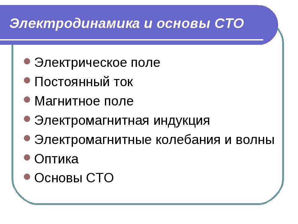 Электродинамика и основы СТО Электрическое поле Постоянный ток Магнитное поле...