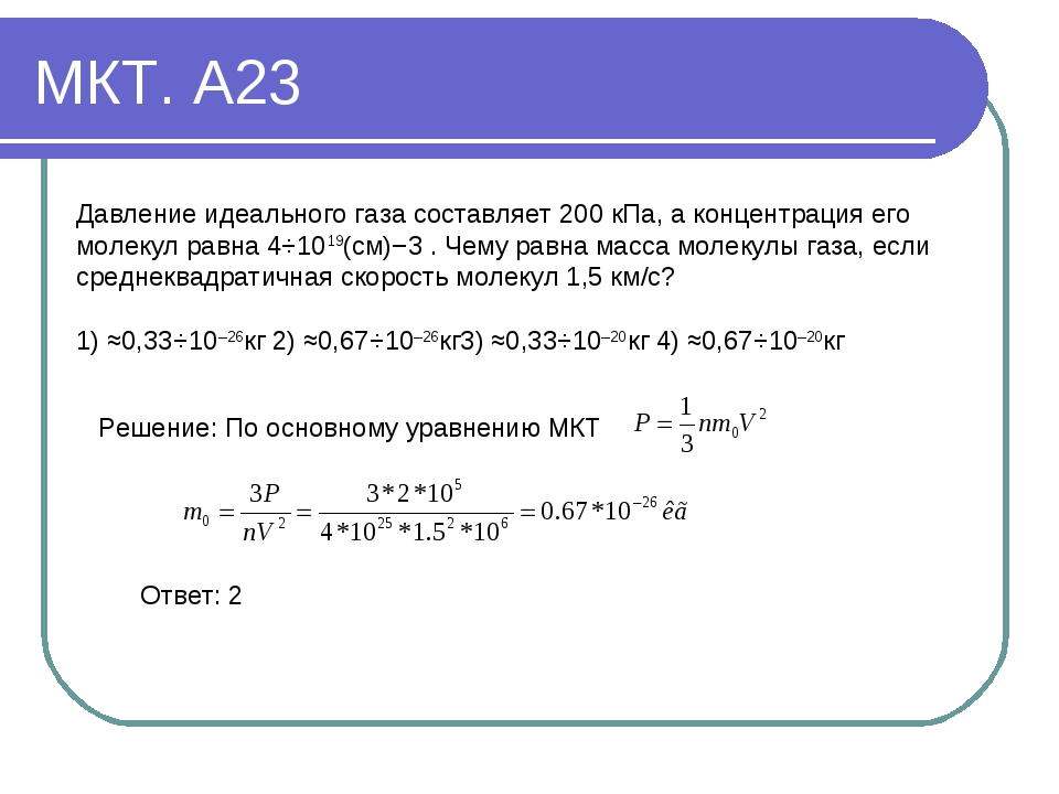 МКТ. А23 Давление идеального газа составляет 200 кПа, а концентрация его моле...