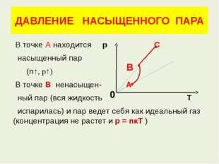 ДАВЛЕНИЕ НАСЫЩЕННОГО ПАРА В точке А находится р С насыщенный пар (n↑, р↑) В т