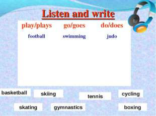 Listen and write basketball skiing tennis skating cycling gymnastics boxing p