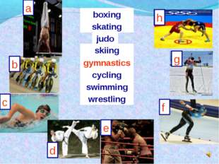 a b h g f e d c skating judo skiing swimming wrestling boxing cycling gymnast