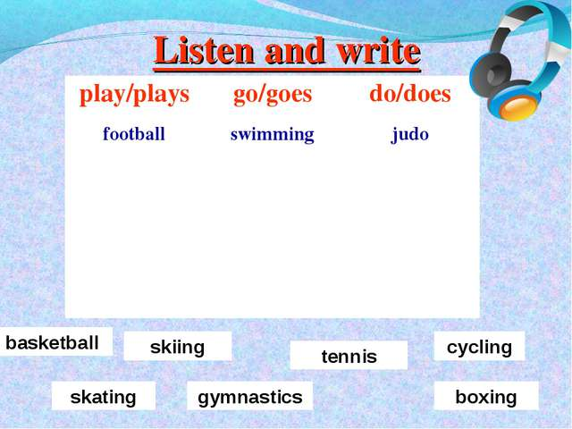 Listen and write basketball skiing tennis skating cycling gymnastics boxing p...