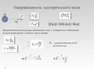 Напряжённость электрического поля [E]=[1 H/Кл]=[1 В/м] +q + Q Напряжённость п