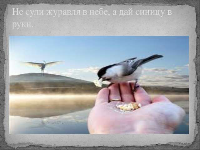 Не сули журавля в небе, а дай синицу в руки.