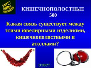 КИШЕЧНОПОЛОСТНЫЕ 500 Какая связь существует между этими ювелирными изделиями,