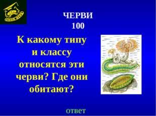 ЧЕРВИ 100 К какому типу и классу относятся эти черви? Где они обитают? ответ