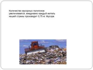 Количество мусорных полигонов увеличивается, ежедневно каждый житель нашей ст