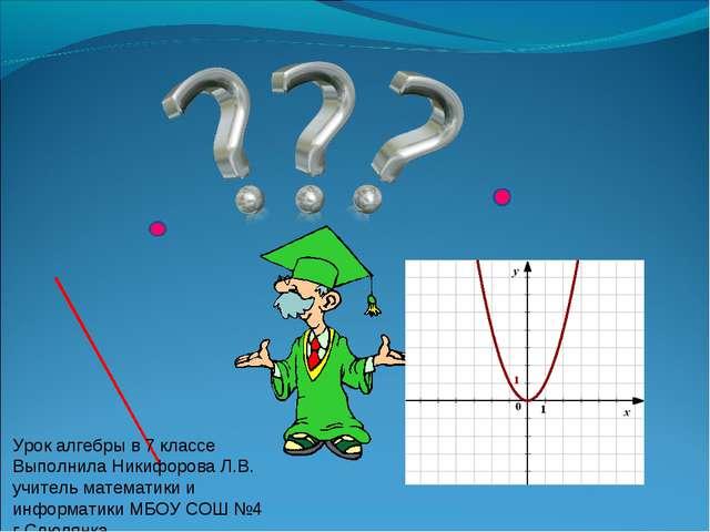 Урок алгебры в 7 классе Выполнила Никифорова Л.В. учитель математики и информ...