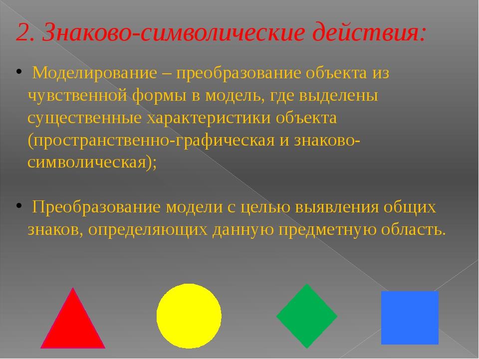 2. Знаково-символические действия: Моделирование – преобразование объекта из...