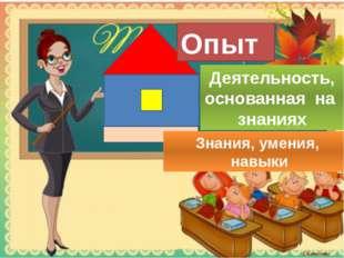 Опыт Деятельность, основанная на знаниях Знания, умения, навыки