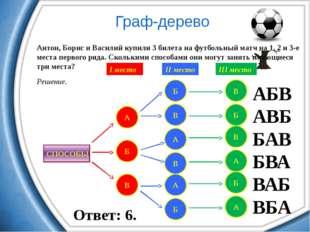 Антон, Борис и Василий купили 3 билета на футбольный матч на 1, 2 и 3-е мест