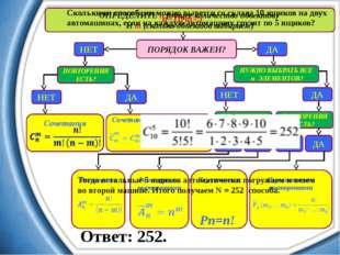 ОПРЕДЕЛИТЕ n (общее количество объектов) И m (сколько объектов выбираем) ПОРЯ
