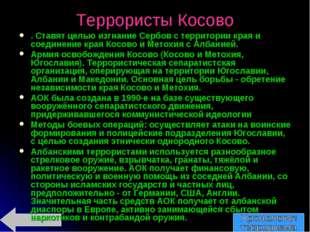 Террористы Косово . Ставят целью изгнание Сербов с территории края и соединен