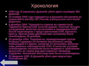 Хронология 1994 год. В аэропорту Душанбе убито двое служащих 201 дивизии. 22