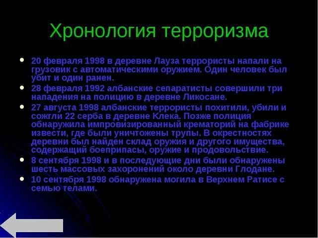 Хронология терроризма 20 февраля 1998 в деревне Лaуза террористы напали на гр...