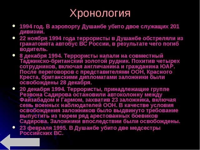 Хронология 1994 год. В аэропорту Душанбе убито двое служащих 201 дивизии. 22...