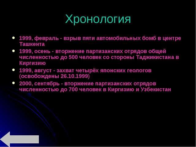 Хронология 1999, февраль - взрыв пяти автомобильных бомб в центре Ташкента 19...