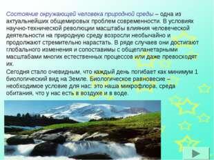 Состояние окружающей человека природной среды – одна из актуальнейших общемир
