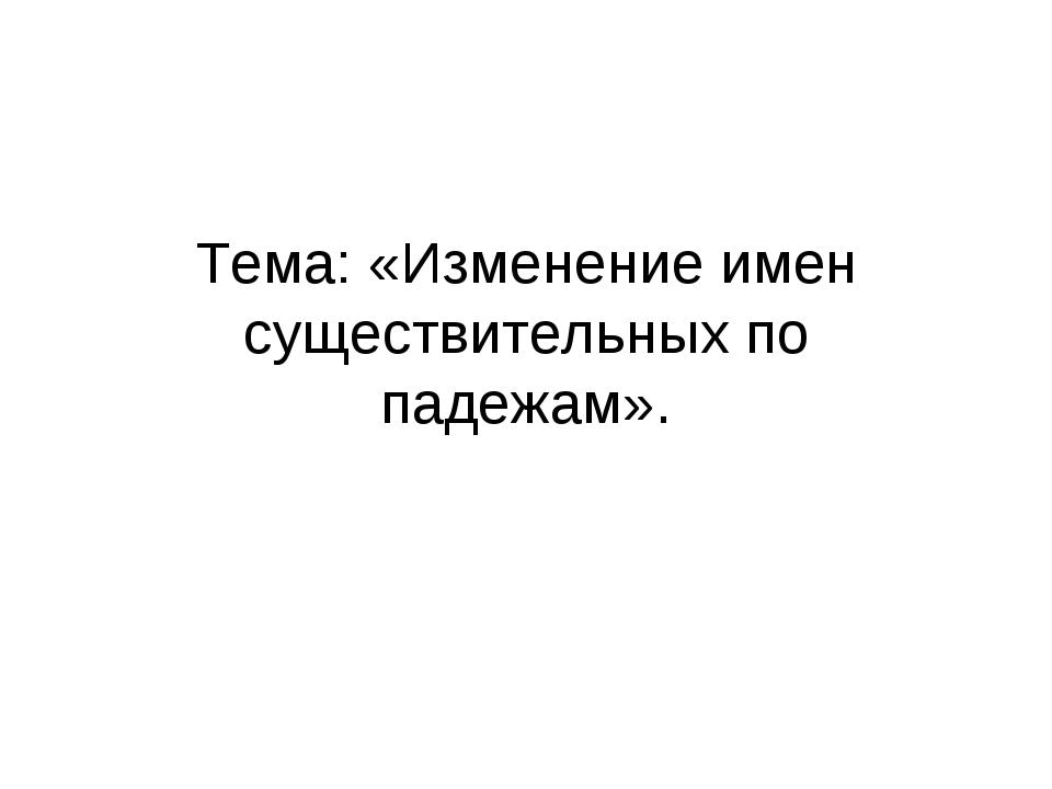 Тема: «Изменение имен существительных по падежам».