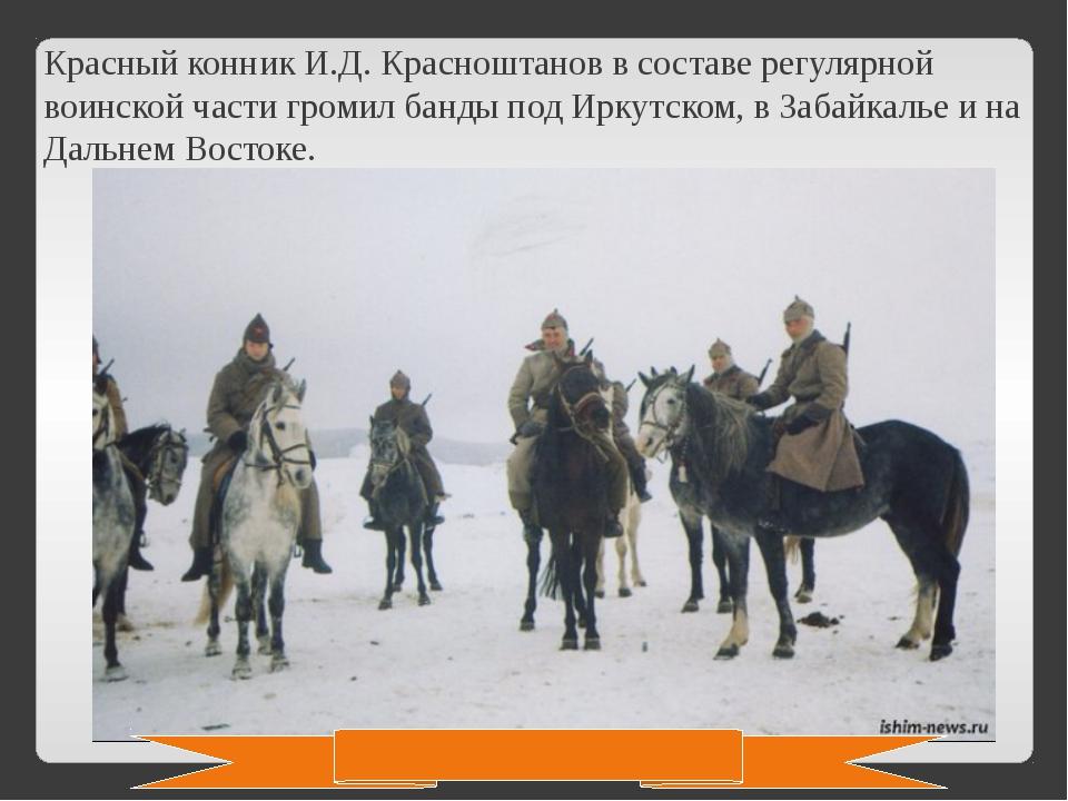 Красный конник И.Д. Красноштанов в составе регулярной воинской части громил б...