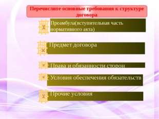 Перечислите основные требования к структуре договора Преамбула(вступительная