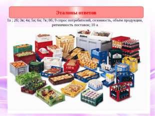 1а ; 2б; 3в; 4а; 5а; 6а; 7в; 8б; 9 спрос потребителей, сезонность, объём прод