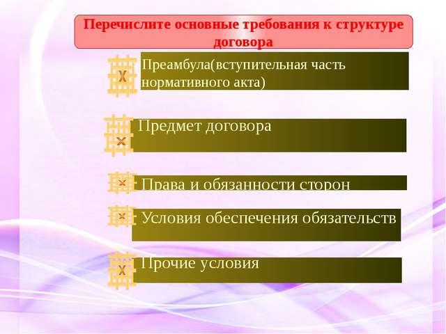 Перечислите основные требования к структуре договора Преамбула(вступительная...