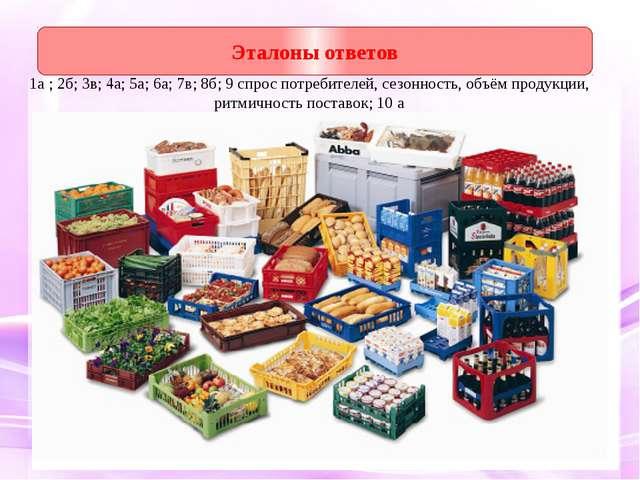1а ; 2б; 3в; 4а; 5а; 6а; 7в; 8б; 9 спрос потребителей, сезонность, объём прод...