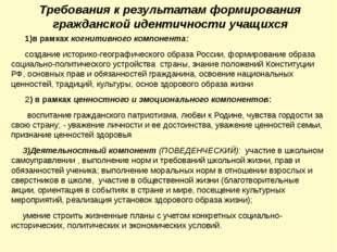 Требования к результатам формирования гражданской идентичности учащихся 1)в р