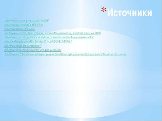 Источники http://www.iworker.ru/professions/view/249/ http://www.aup.ru/books...