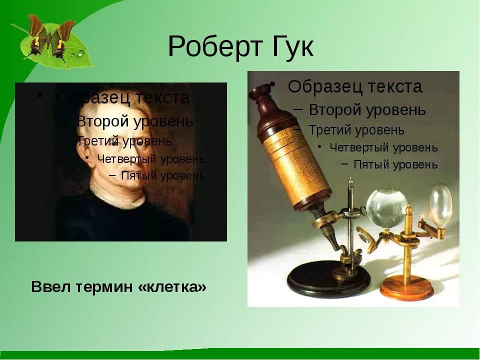 Роберт Гук Ввел термин «клетка»