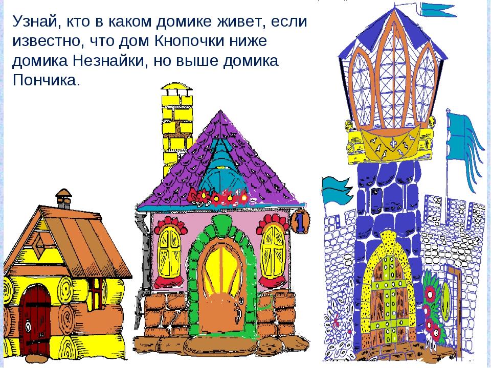 Узнай, кто в каком домике живет, если известно, что дом Кнопочки ниже домика...