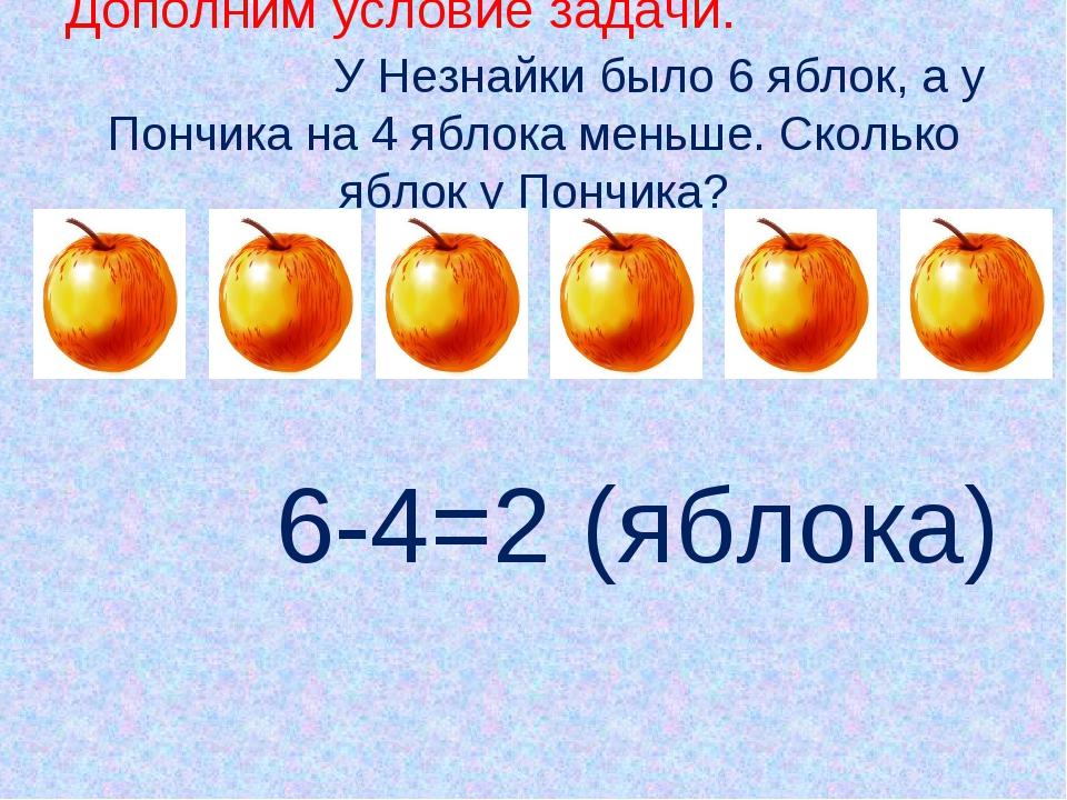 Дополним условие задачи. У Незнайки было 6 яблок, а у Пончика на 4 яблока ме...