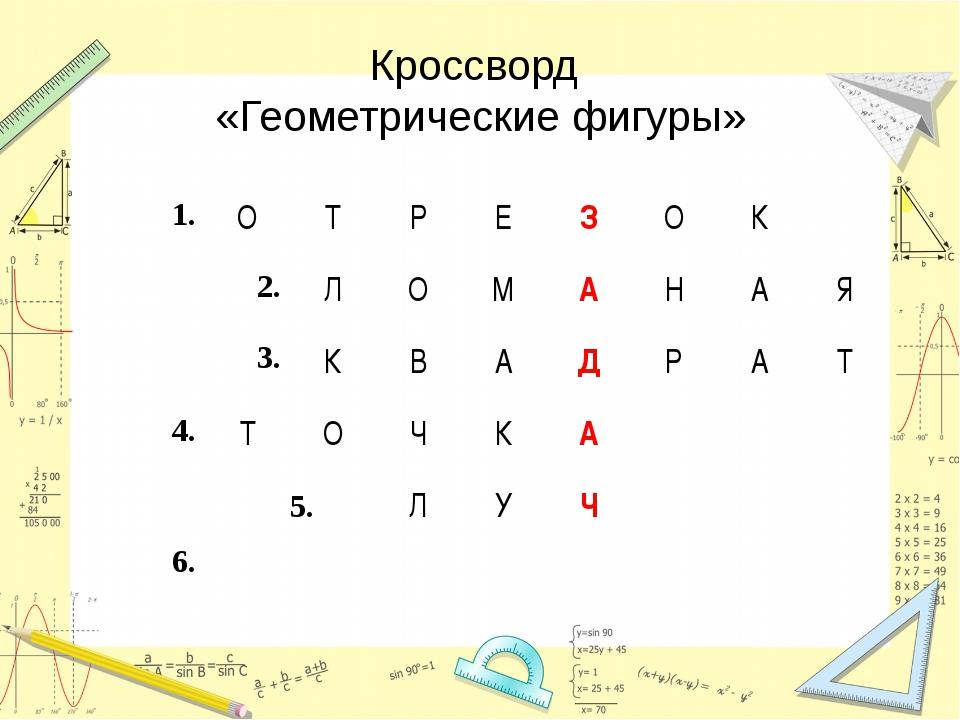 Кроссворд «Геометрические фигуры» 1.ОТРЕЗОК 2. 3.ЛОМАНАЯ КВ...