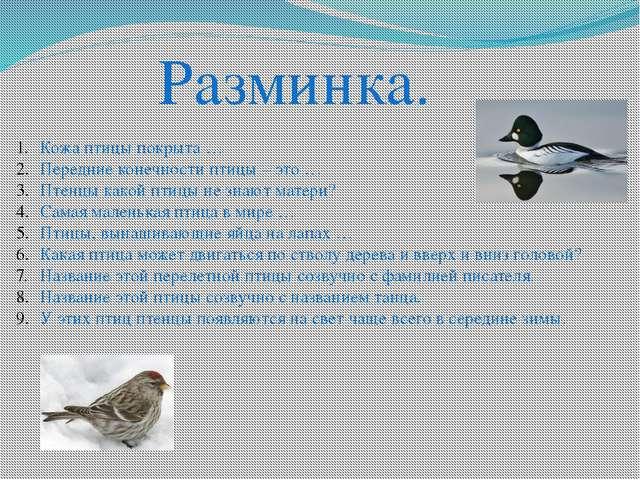 Разминка. Кожа птицы покрыта … Передние конечности птицы – это … Птенцы како...